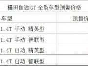 SUV新宠 福田伽途GT 预售7.99——9.79万元